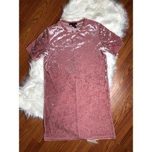 Forever 21 Pink Velvet Short Sleeve Tshirt Dress